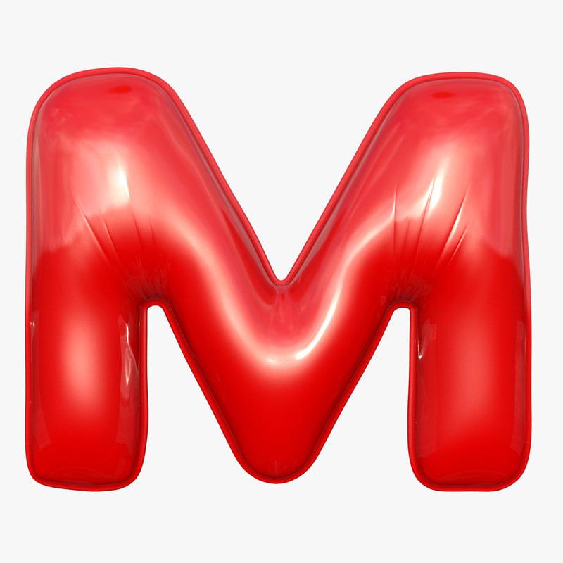 foil balloon letter m 3D model