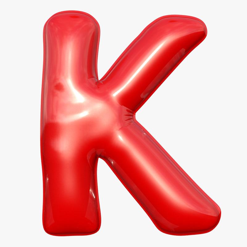 3D foil balloon letter k model