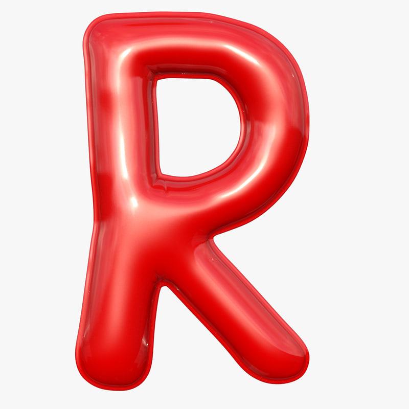 foil balloon letter r 3D