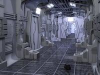 space ship hallway 3D model