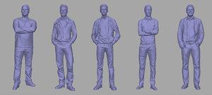 3D men backgrounds games model