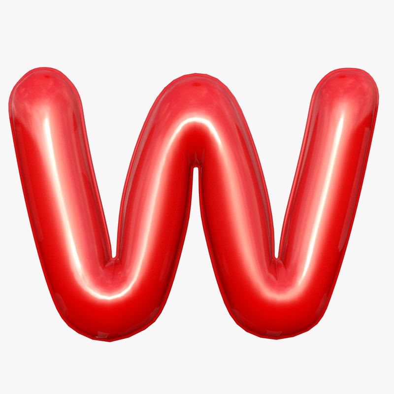 3D model foil balloon letter w
