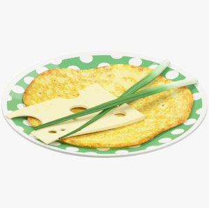pancake plate cheese onion model