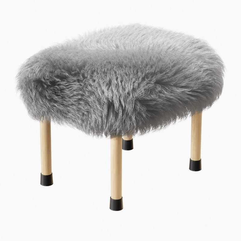 3D wool nerys sheepskin footstool