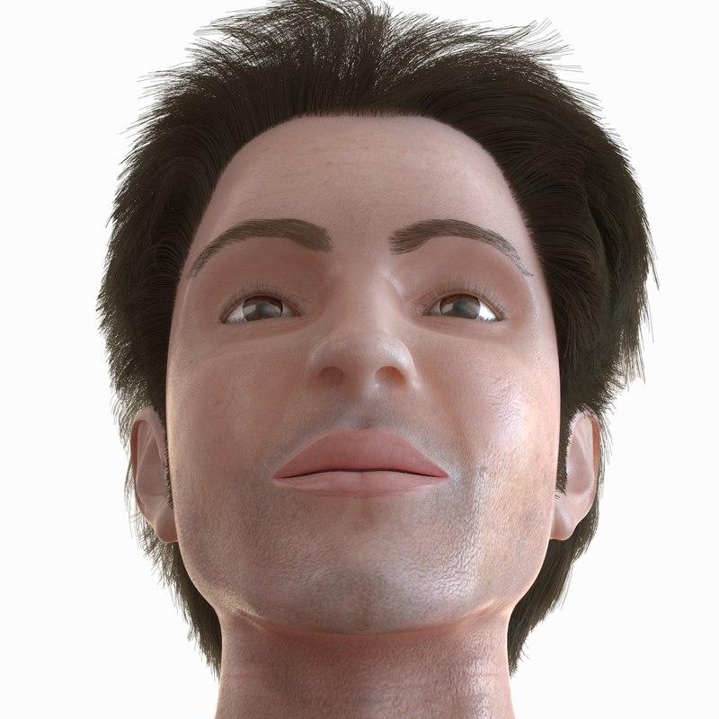 3d model male head m