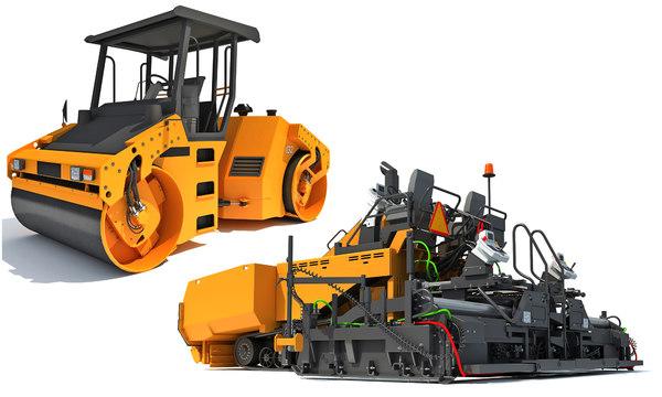 3D asphalt roller paver