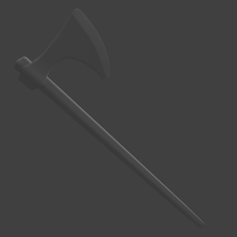 3D swedish long viking axe model