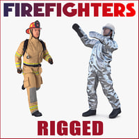 Rigged Firefighters 3D Models Collection