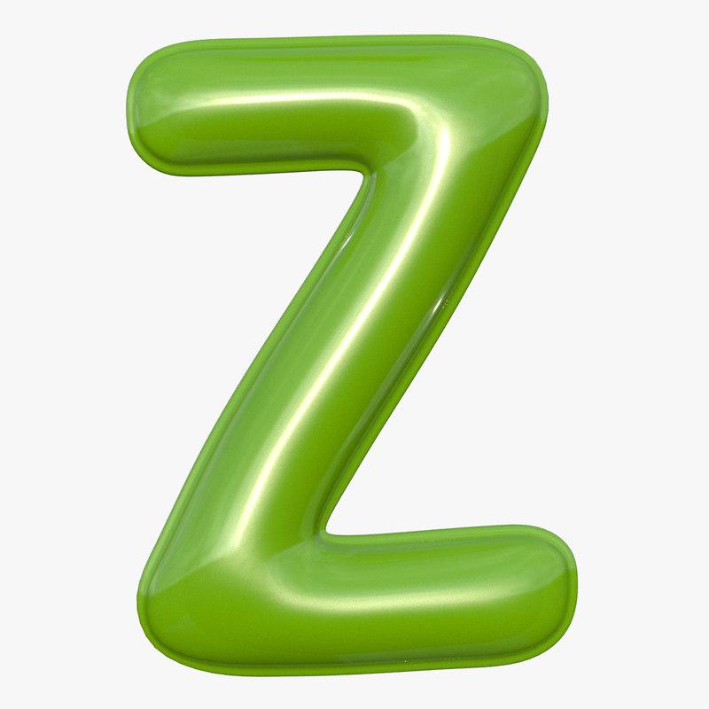 foil balloon letter z 3D model