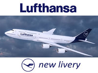 Boeing 747-8 of Lufthansa airlines in new livery. 3D model.