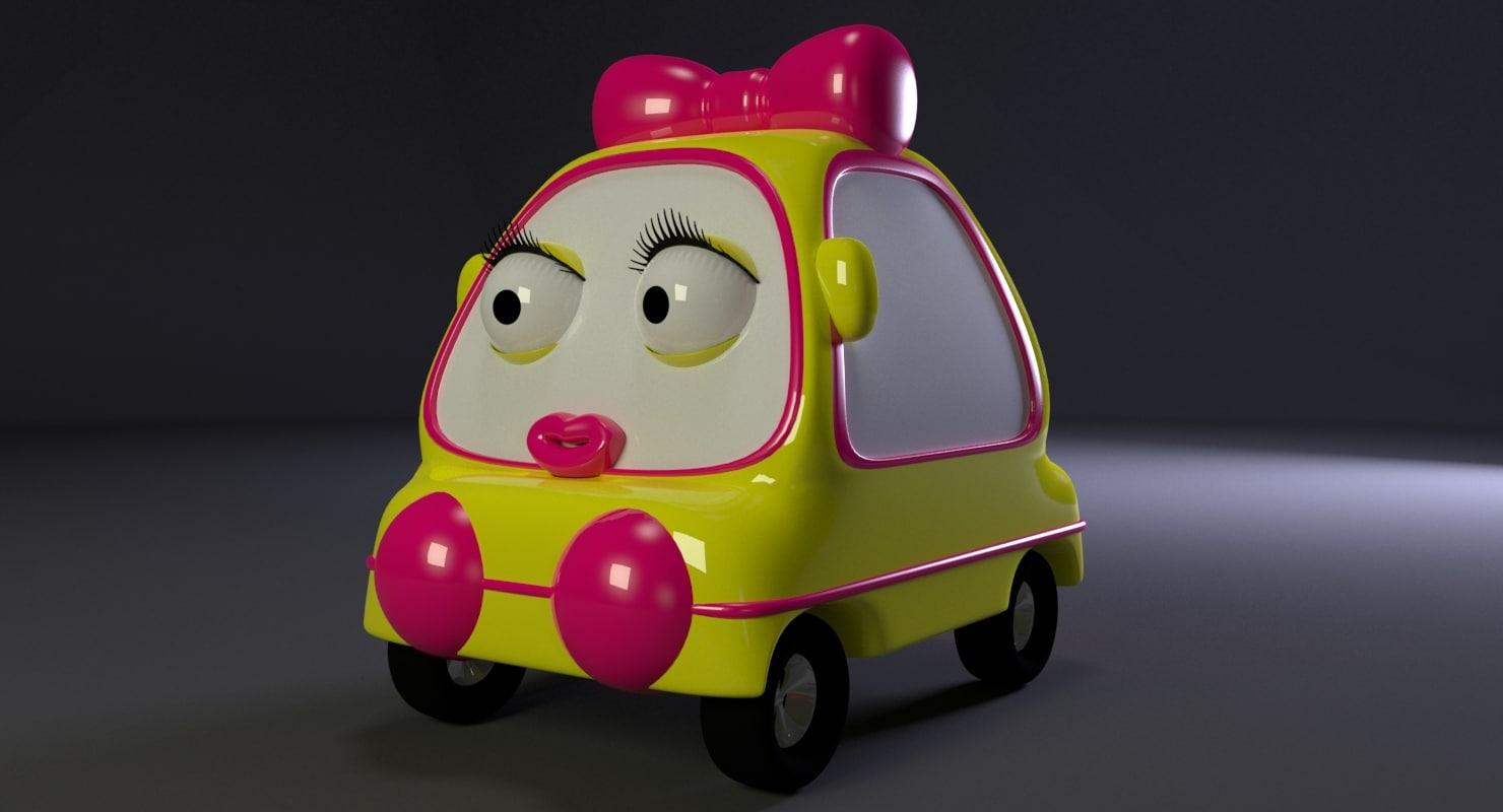 cartoon girl car 3D model
