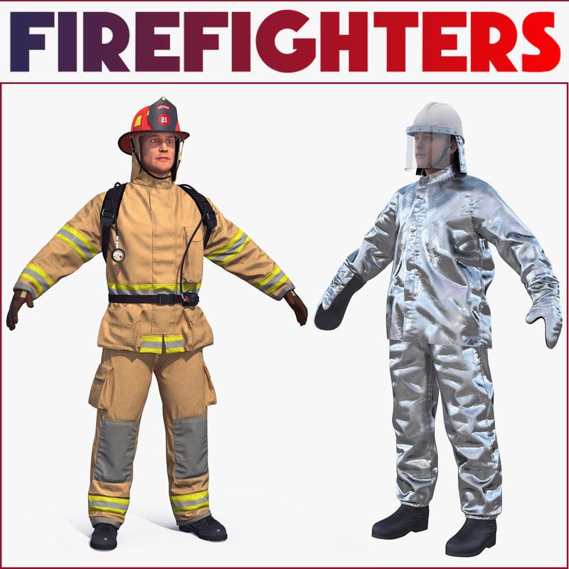 firefighters aluminized 3D model