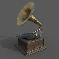 3D model pbr gramophone
