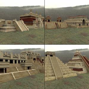 mayan city buildings daz 3D model