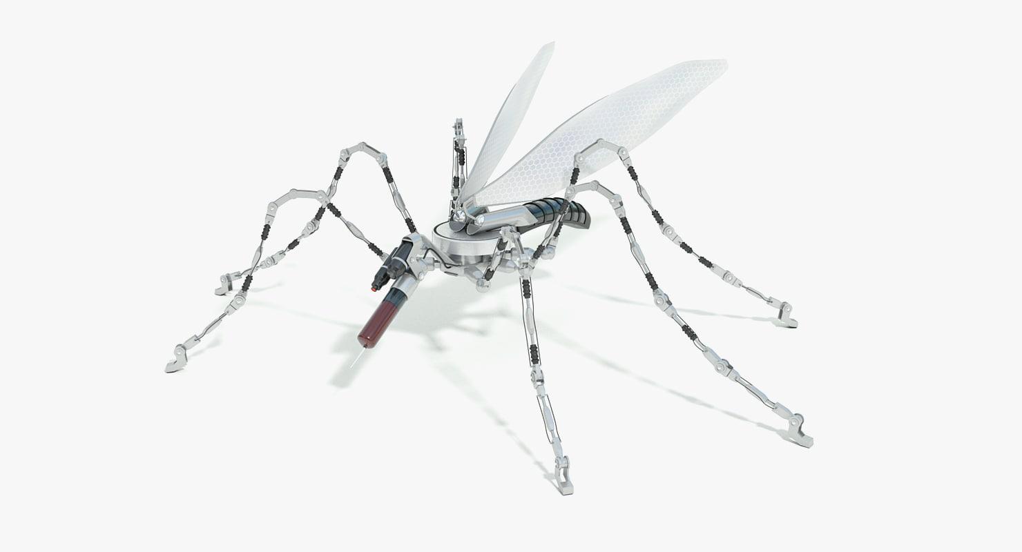 3D sci-fi mosquito robot concept