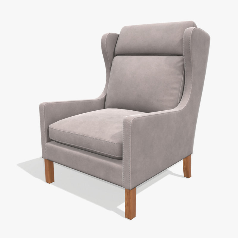 low-poly wingback armchair 3D model