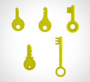 golden key set 5 3D model