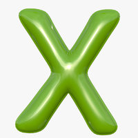 Foil Balloon Letter X Green model