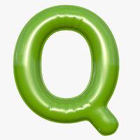 foil balloon letter q 3D model