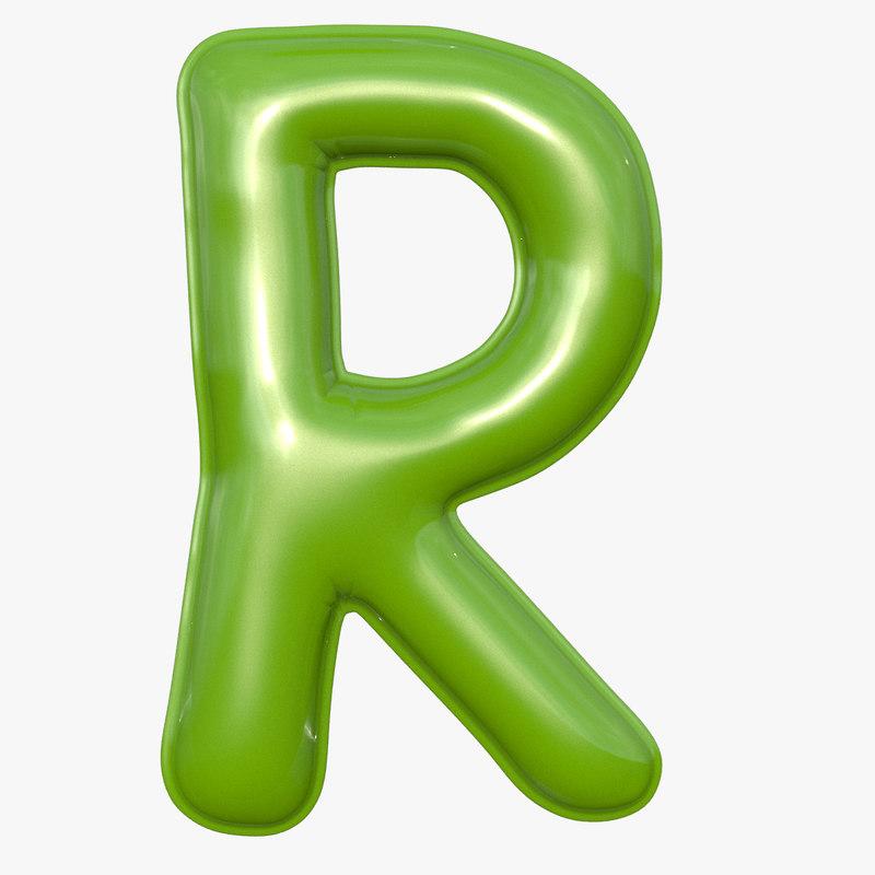 foil balloon letter r 3D model