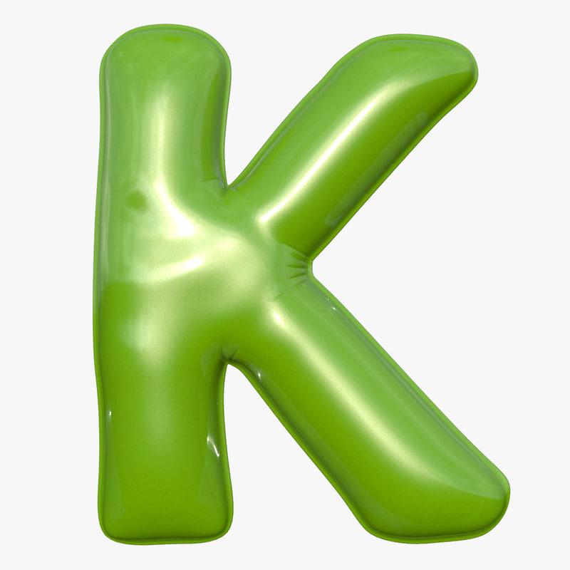 foil balloon letter k 3D model