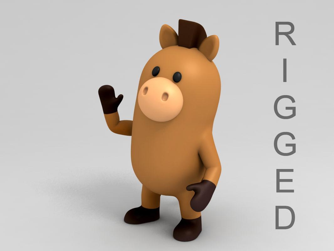 horse character cartoon 3D model