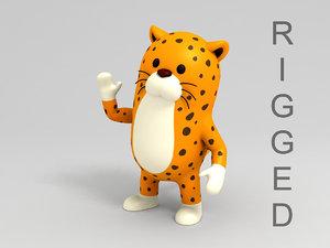 3D leopard character cartoon model