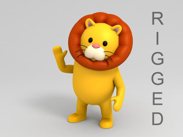 lion character cartoon 3D model
