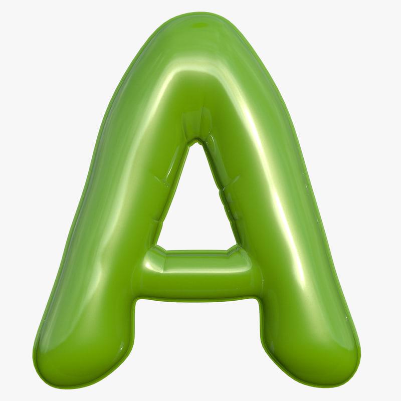 foil balloon letter green 3D