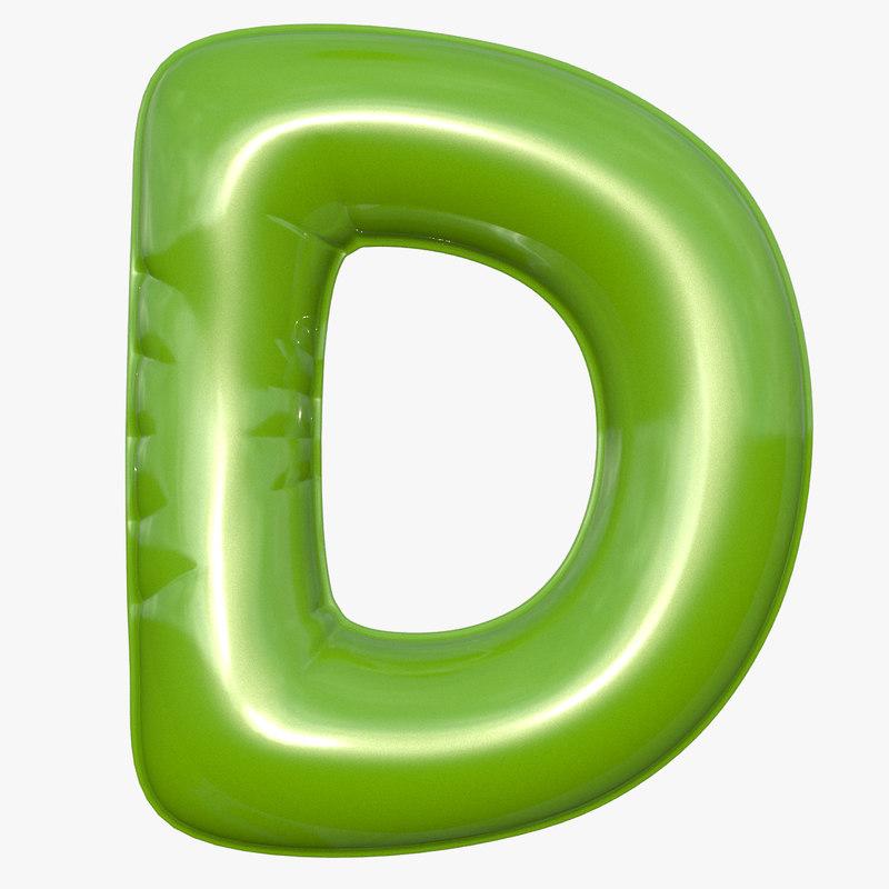 Foil balloon letter d 3D model - TurboSquid 1256457