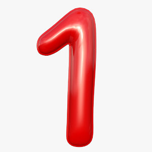 balloon numeral 1 3D