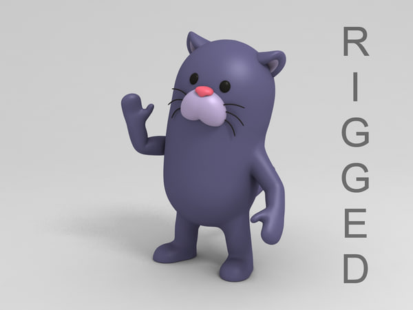 3D panther character cartoon model