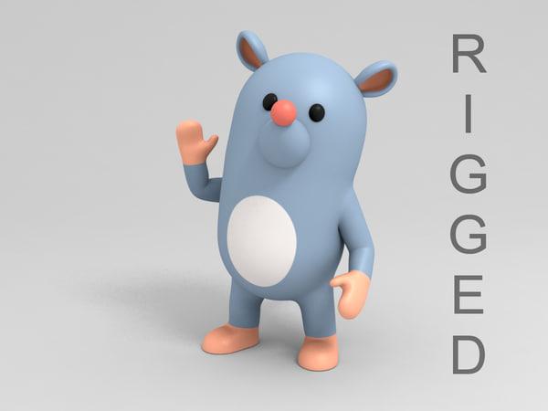 rat character cartoon model
