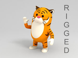 tiger character cartoon 3D model