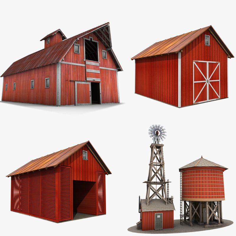 farm buildings 3D
