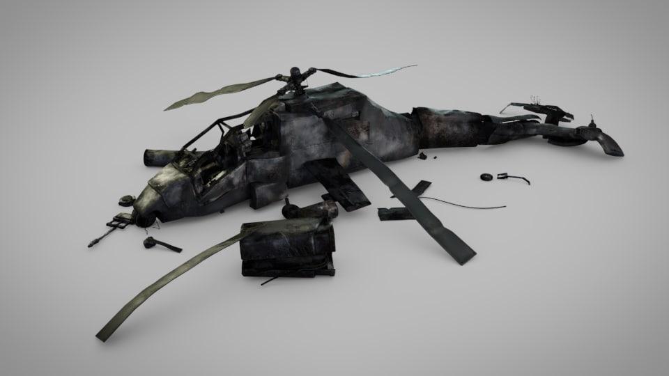 3D helicopter crashed model