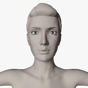 3D female quads body polygons