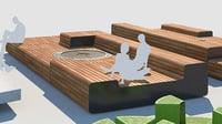 3D street benches set model
