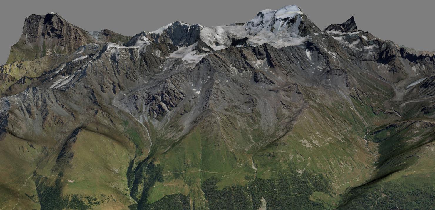 grand combin switzerland 3D model