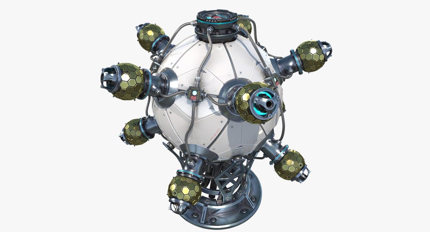 sci-fi nuclear reactor 3D model