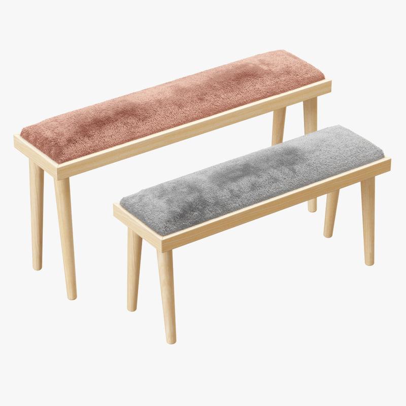 3D wool sheepskin solid wood model