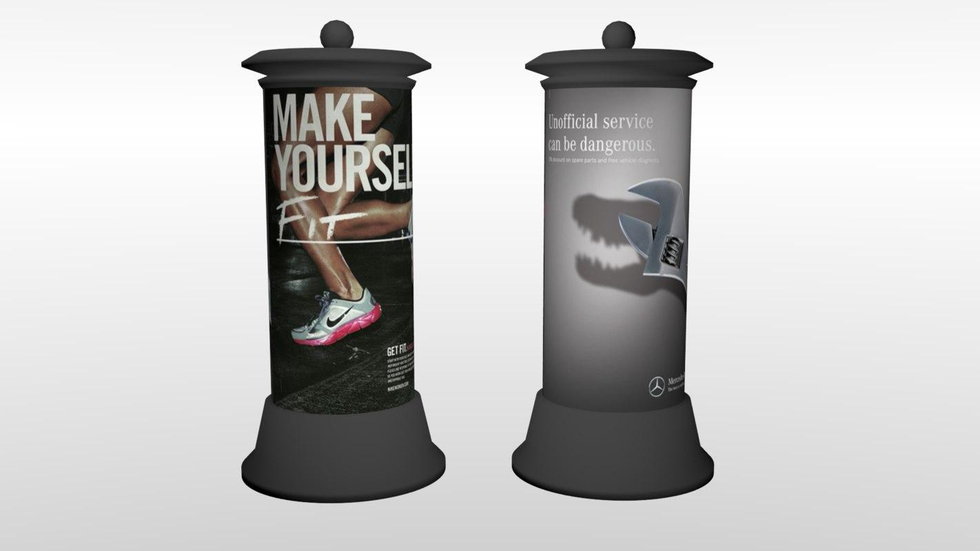 cylinder billboard 3D model