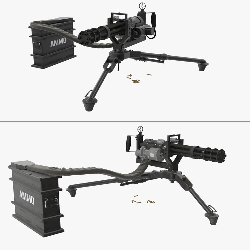 3D model m134 minigun tripod mounted