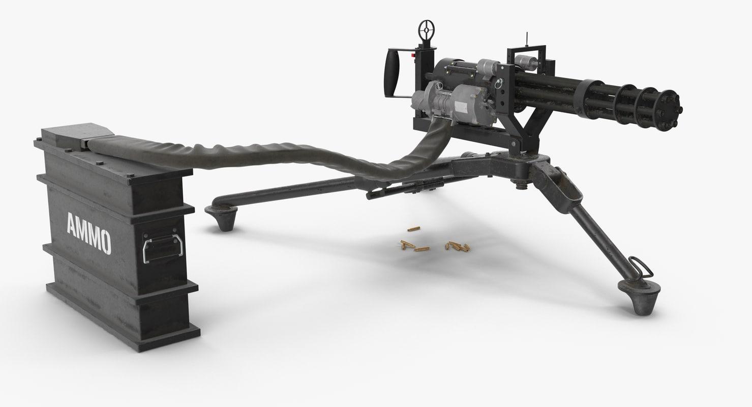 3D m134 minigun tripod mounted