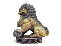 Chinese-style bronze lion statue