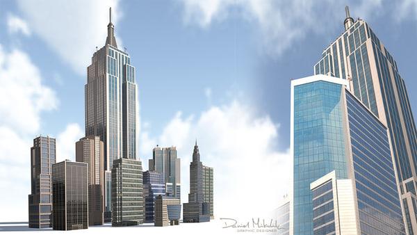 skyscrapers buildings background model