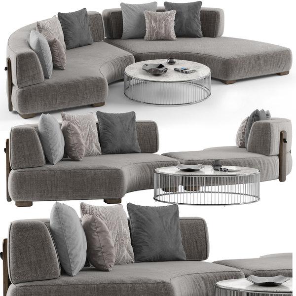 3D minotti florida sofa set