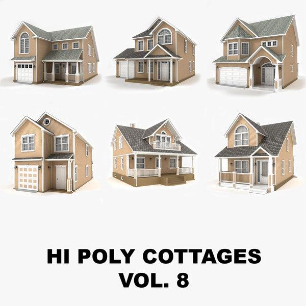 3D hi-poly cottages vol 8 model