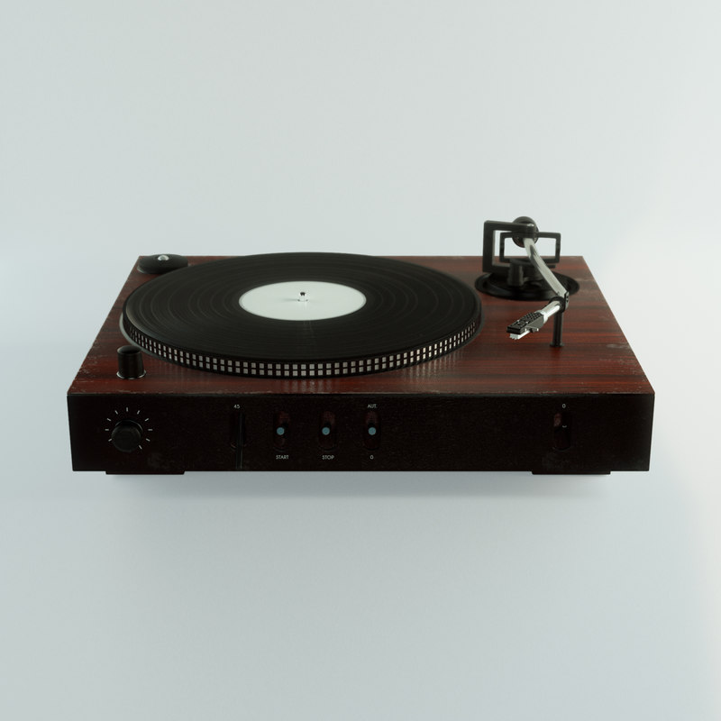 3D old vinyl record player model