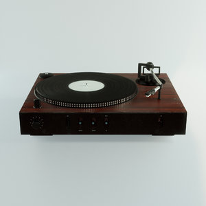 3D old vinyl record player model